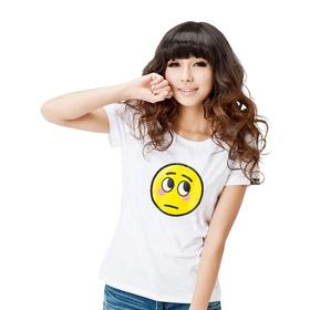 表情系列女款短袖T恤-表情#17(白)