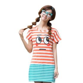 游戏表情#17条纹短袖连衣裙