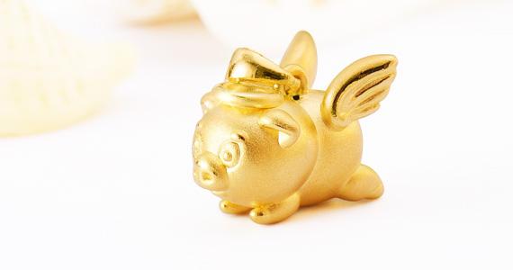 梦幻西游天使猪猪黄金吊坠(潮宏基定制款)