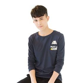 游戏表情#80长袖T恤(蓝)