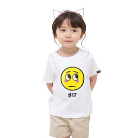 表情系列童装短袖T恤-表情#17(白)