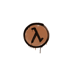 封装的涂鸦   λ 符号 (黄褐)